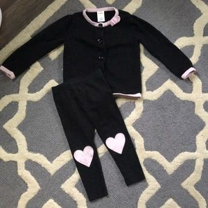 leggings & button cardigan top 💕 black & pink